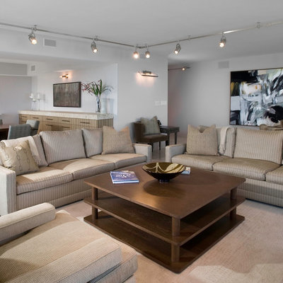 Living room - large contemporary living room idea in Chicago with white walls