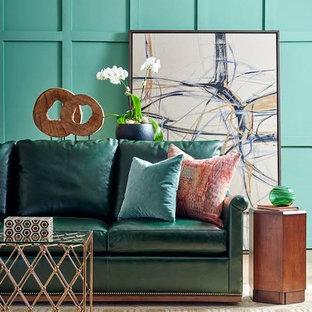 ニューオリンズの小さいエクレクティックスタイルのおしゃれなLDK (フォーマル、青い壁、カーペット敷き、暖炉なし、テレビなし、ベージュの床) の写真