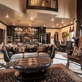 Example of a huge ornate formal and open concept porcelain floor living room design in Dallas with beige walls
