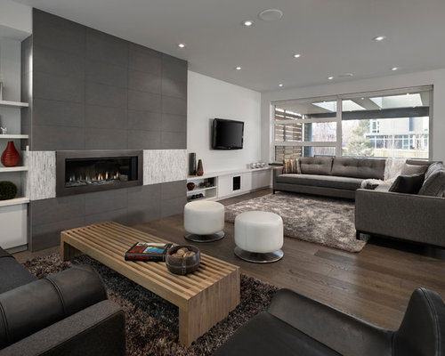 Huge Trendy Living Room Photo In Edmonton With White Walls And A Ribbon Fireplace