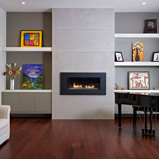 Example of a trendy living room design in Edmonton with gray walls and a ribbon fireplace