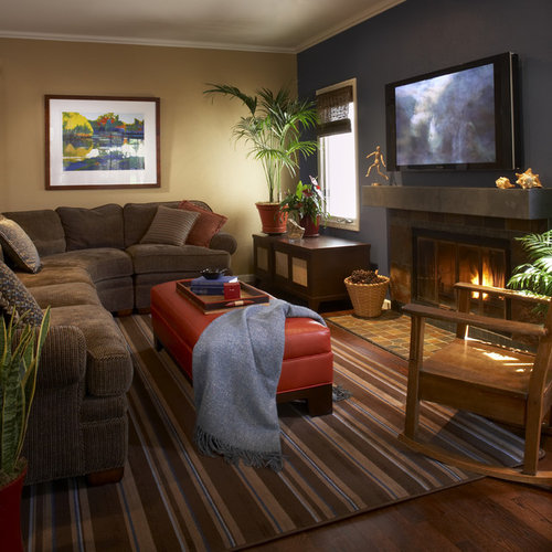 blue and brown living room home design ideas pictures