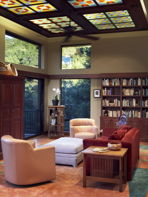 Stained glass ceiling home design ideas pictures remodel for Craftsman living room design ideas