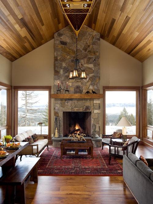 Windows Flanking Fireplace Houzz