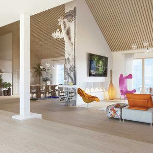 Idee per un ampio soggiorno design aperto con sala formale, pavimento in compensato, camino bifacciale, cornice del camino in cemento, parete attrezzata e pavimento beige