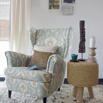 Living room ikat reading corner by Anserai/Elly MacDonald Design