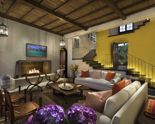 Tropical Living Room Idea In Mexico City With Yellow Walls