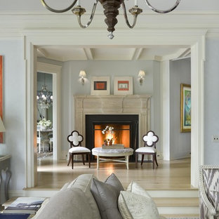 Design ideas for a mid-sized traditional formal enclosed living room in New York with blue walls, light hardwood floors, a standard fireplace and a plaster fireplace surround.