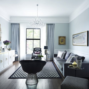 Living room - contemporary living room idea in Sydney with blue walls and no tv
