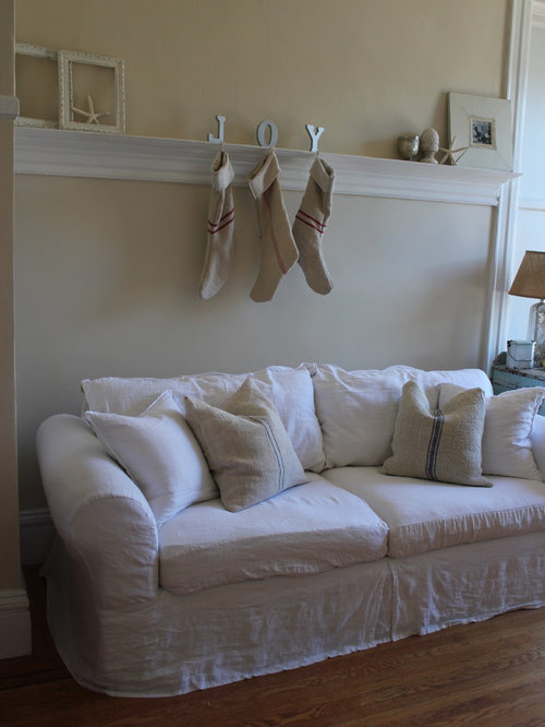 Shabby Chic Style Washable Linen Slipcover Home Design Photos Decor Ideas