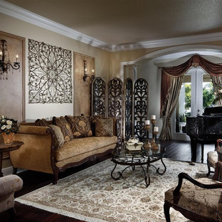 Example of an ornate living room design in Miami with a music area and beige walls