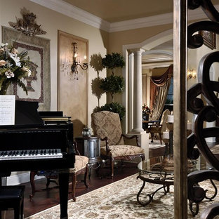 Living room - traditional enclosed living room idea in Miami with a music area and beige walls