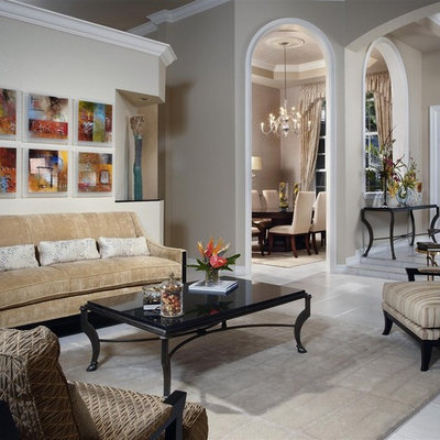 Inspiration for a timeless formal living room remodel in Miami with beige walls