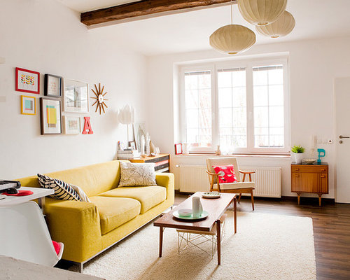 bright colors for living room. Inspiration for a scandinavian living room remodel in Other with white walls Bright Color Living Room  Houzz