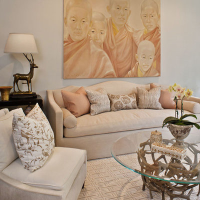 Inspiration for a transitional formal living room remodel in Los Angeles with beige walls