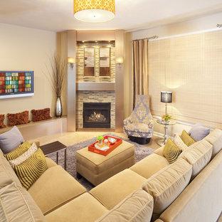 Ispirazione per un soggiorno contemporaneo con camino ad angolo e cornice del camino piastrellata