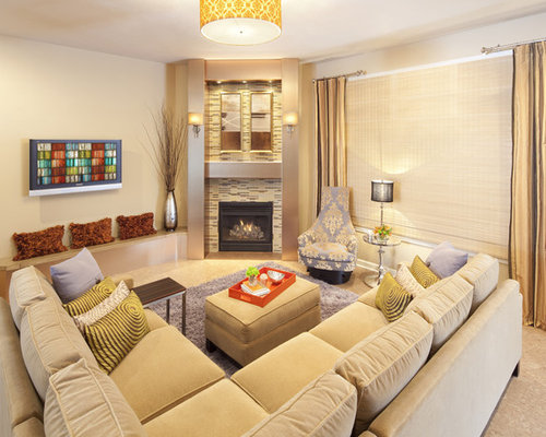 Example Of A Trendy Living Room Design In Chicago With A Corner Fireplace  And A Tile