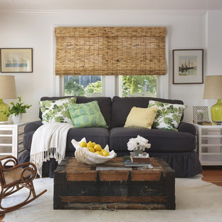 Example of a beach style medium tone wood floor living room design in Providence with white walls