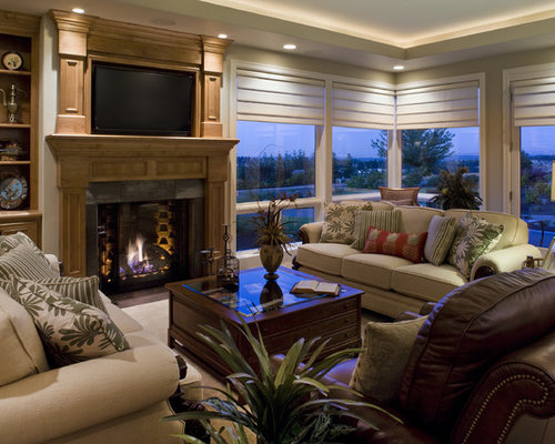 Example Of A Trendy Living Room Design In Portland With Standard Fireplace And Wall