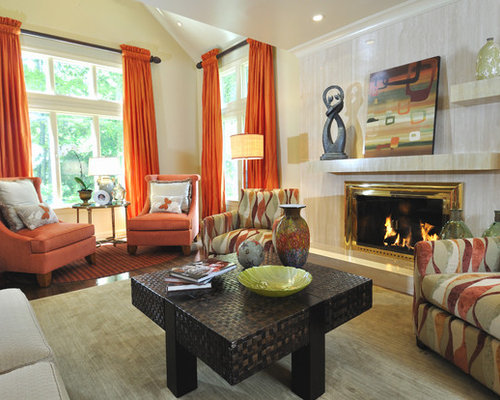 Large Trendy Living Room Photo In Miami With Beige Walls A Standard Fireplace And
