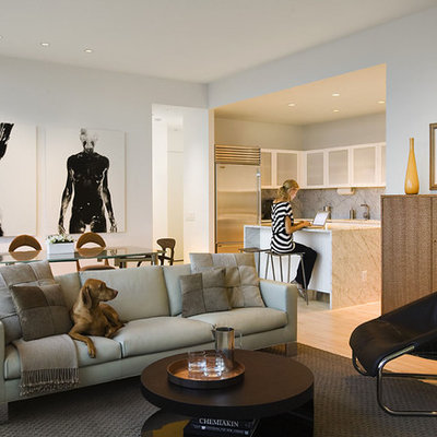 Living room - contemporary open concept living room idea in New York with white walls