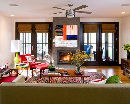 Oriental lamp shades houzz inspiration for a contemporary living room remodel in boston with a standard fireplace mozeypictures Choice Image