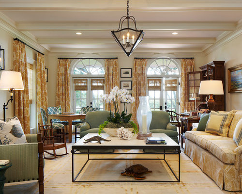 Large Traditional Formal And Enclosed Living Room Idea In Miami With Beige Walls A Standard