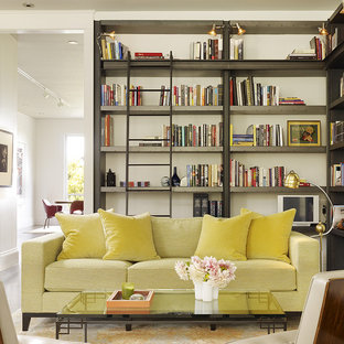 Living room library - transitional living room library idea in San Francisco