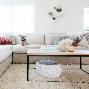 Inspiration for a scandinavian formal living room remodel in Los Angeles with white walls