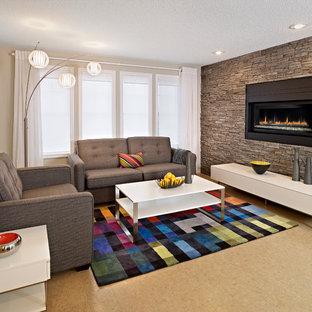 Foto di un soggiorno american style di medie dimensioni e aperto con sala formale, pavimento in sughero, camino classico e cornice del camino in pietra