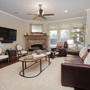Mountain Style Living Room Photo In Dallas With A Brick Fireplace And Corner