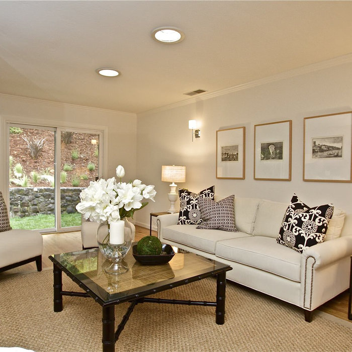 Cream and Black Transitional Living Room