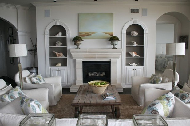 Beach style living room by liz williams interiors