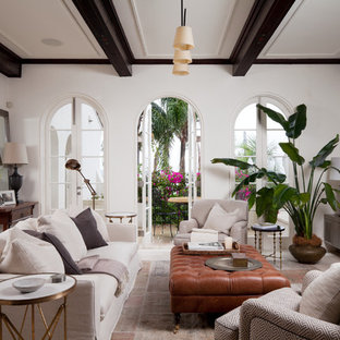 Design ideas for a large mediterranean formal open plan living room in Sydney with white walls.