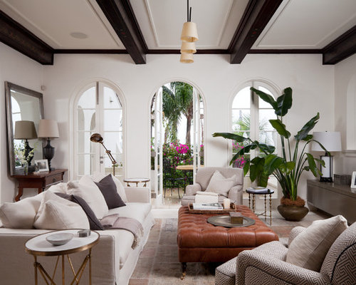 Inspiration For A Large Mediterranean Formal Open Concept Living Room Remodel In Sydney With White Walls