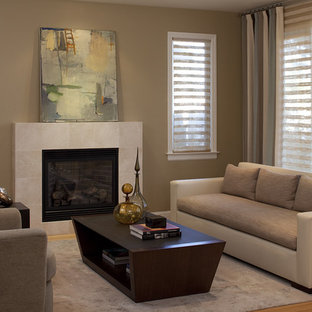 Example of a trendy bamboo floor living room design in Dallas