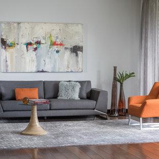 Ejemplo de salón para visitas tipo loft, minimalista, de tamaño medio, con paredes grises, suelo de contrachapado y chimeneas suspendidas