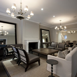 Living room - contemporary living room idea in Chicago with gray walls and a standard fireplace
