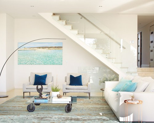 beach living room ideas. Photo of a mid sized beach style open concept living room in Perth with  white Beach Style Living Room Design Ideas Renovations Photos
