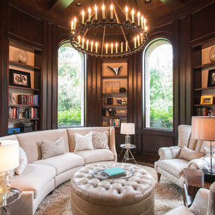 Elegant Formal And Enclosed Carpeted And Brown Floor Living Room Photo In  Houston With Brown Walls