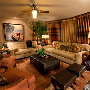 Ispirazione per un grande soggiorno minimal aperto con pareti beige, camino classico, parete attrezzata, parquet scuro e cornice del camino in pietra