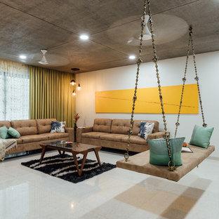 Modelo de salón para visitas abierto, asiático, con paredes blancas y suelo beige
