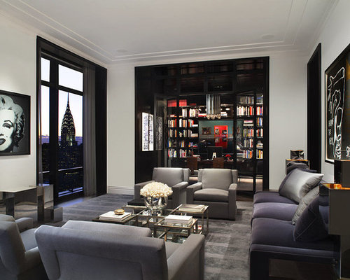Example Of A Huge Trendy Living Room Design In New York With White Walls