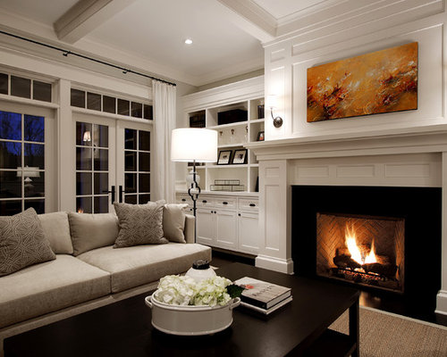 example of a large classic living room design in seattle with white walls and a standard - Traditional Living Room Design Ideas