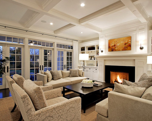 Example Of A Huge Classic Living Room Design In Seattle With Standard Fireplace White