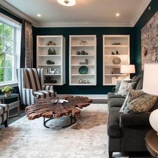 Medium sized traditional formal enclosed living room in Philadelphia with green walls and dark hardwood flooring.