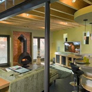 Modernes Wohnzimmer mit grüner Wandfarbe und Kaminofen in Philadelphia