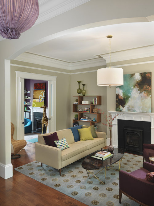 Exceptional Inspiration For A Transitional Medium Tone Wood Floor Living Room Remodel  In Boston With Beige Walls