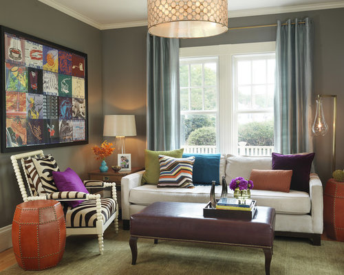 Contemporary olive green neutral wall color living room for Colorful contemporary living room ideas