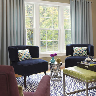 Living room - transitional formal carpeted living room idea in Boston with beige walls and no tv